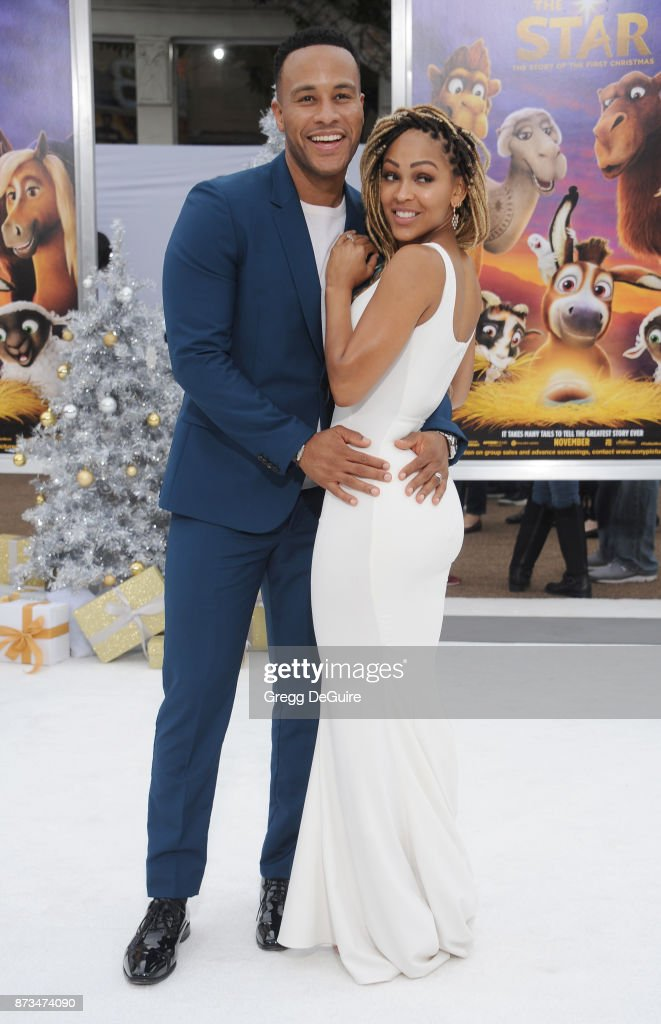 DeVon Franklin and Meagan Good arrive at the premiere of Columbia Pictures' 'The Star' at Regency Village Theatre on November 12, 2017 in Westwood, California.