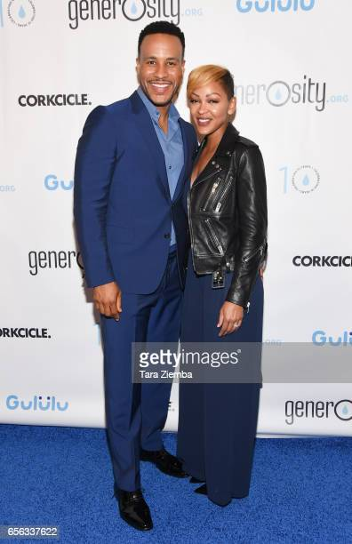 Devon Franklin and Megan Good attend a Generosityorg fundraiser for World Water Day at Montage Hotel on March 21 2017 in Beverly Hills California