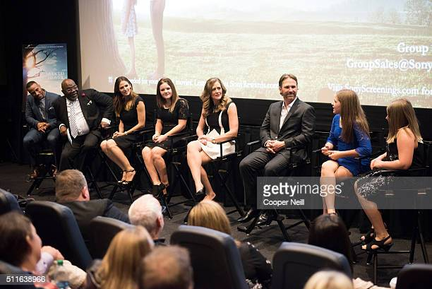 DeVon Franklin Bishop TD Jakes Jennifer Garner Annabel Beam Christy Beam Kevin Beam Abbie Beam and Adelynn Beam speak during a QA session after the...