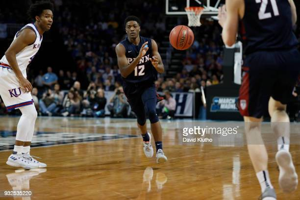 Devon Goodman of the University of Pennsylvania passes to a teammate during their game against the University of Kansas at the first round of the...