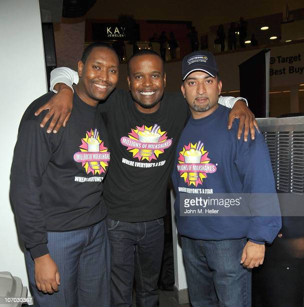 Devon Guzzie Cory Chrismon and Founder CEO of Millions of Milkshakes Sheeraz Hasan attend the launching of Mario Lopez's milkshake at Millions Of...