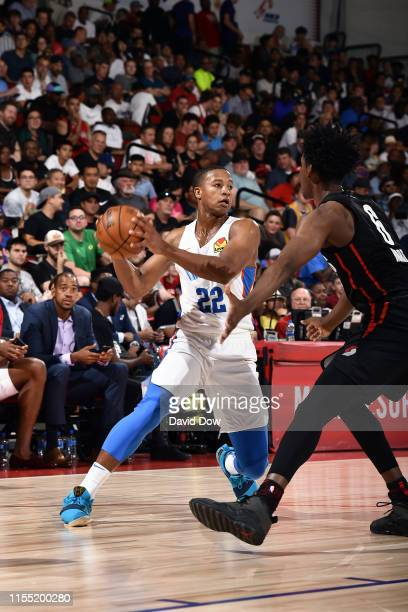 Devon Hall of the Oklahoma City Thunder handles the ball during the game against the Portland Trail Blazers during Day 7 of the 2019 Las Vegas Summer...