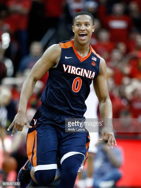 Devon Hall of the Virginia Cavaliers celebrates after De'Andre Hunter made a 3 point shot at the buzzer to beat the Louisville Cardinals 6766 at KFC...
