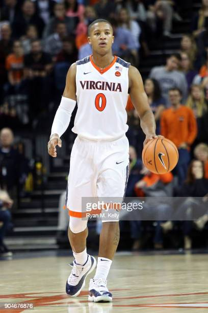 Devon Hall of the Virginia Cavaliers dribbles in the second half during a game against the Syracuse Orange at John Paul Jones Arena on January 9 2018...
