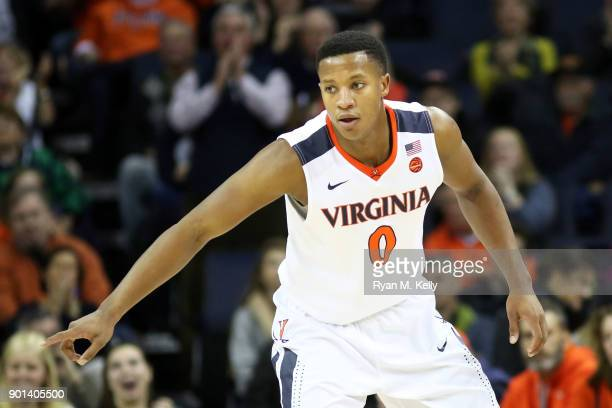 Devon Hall of the Virginia Cavaliers during a game against the Boston College Eagles at John Paul Jones Arena on December 30 2017 in Charlottesville...