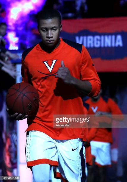 Devon Hall of the Virginia Cavaliers enters the court prior to taking on the North Carolina Tar Heels during the championship game of the 2018 ACC...
