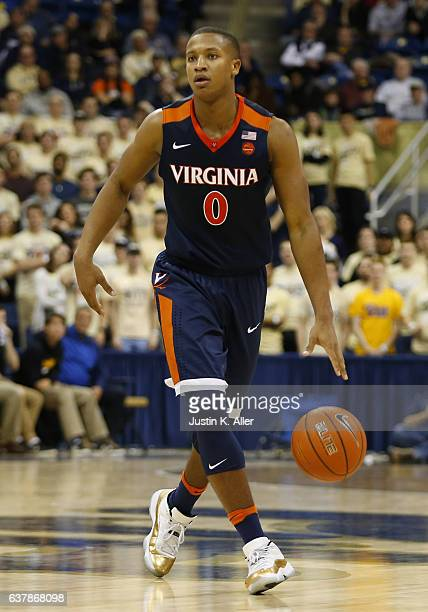 Devon Hall of the Virginia Cavaliers in action against the Pittsburgh Panthers at Petersen Events Center on January 4 2017 in Pittsburgh Pennsylvania