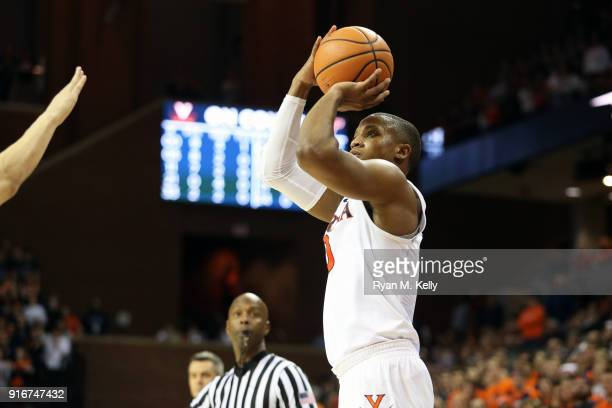 Devon Hall of the Virginia Cavaliers shoots in the second half during a game against the Virginia Tech Hokies at John Paul Jones Arena on February 10...