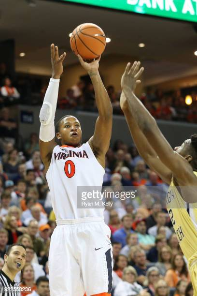 Devon Hall of the Virginia Cavaliers shoots in the second half during a game against the Georgia Tech Yellow Jackets at John Paul Jones Arena on...