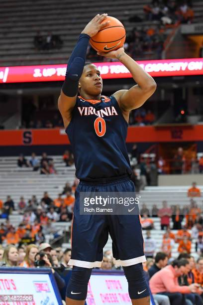 Devon Hall of the Virginia Cavaliers shoots the ball against the Syracuse Orange during the second half at the Carrier Dome on February 3 2018 in...