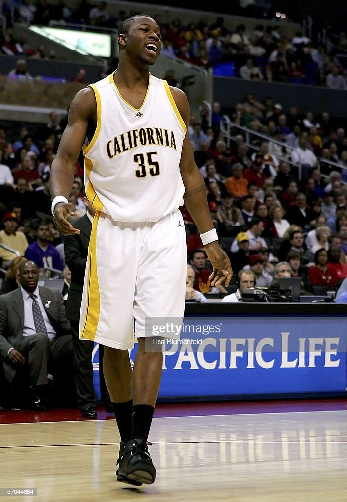 DeVon Hardin #35 of the California Golden Bears smiles during the final moments of the Bears' win over the USC Trojans during the quarterfinals of the 2006 Pacific Life Pac-10 Men's Basketball Tournament on March 9, 2006 at Staples Center in Los Angeles, California. Cal defeated USC