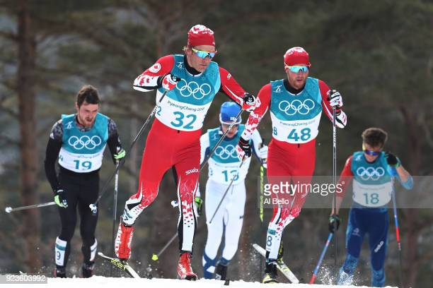 Devon Kershaw of Canada Graeme Killick of Canada Thomas Bing of Germany Matti Heikkinen of Finland and Clement Parisse of France compete during the...