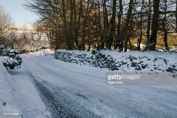 a devon lane in snowy conditions, near postbridge, dartmoor national park, devon, great britain. - newpremiumuk stock pictures, royalty-free photos & images