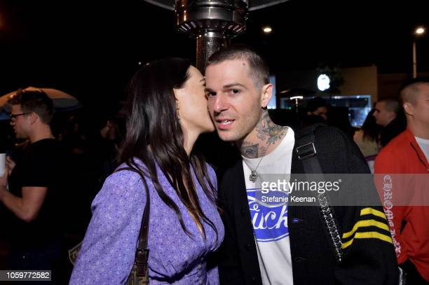 Devon Lee Carlson and Jesse Rutherford attend Maxfield Presents Sex Records by Chrome Hearts Artist Matt DiGiacomo at Maxfield on November 9 2018 in...