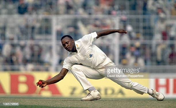 Devon Malcolm fielding for England during the 1st Test match between India and England at Eden Gardens in Calcutta January 29th 1993 India won by 8...
