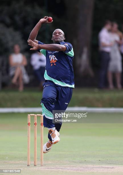 Devon Malcolm of PCA England Masters in action during the PCA Summer Garden Party at The Hurlingham Club on July 19 2018 in London England