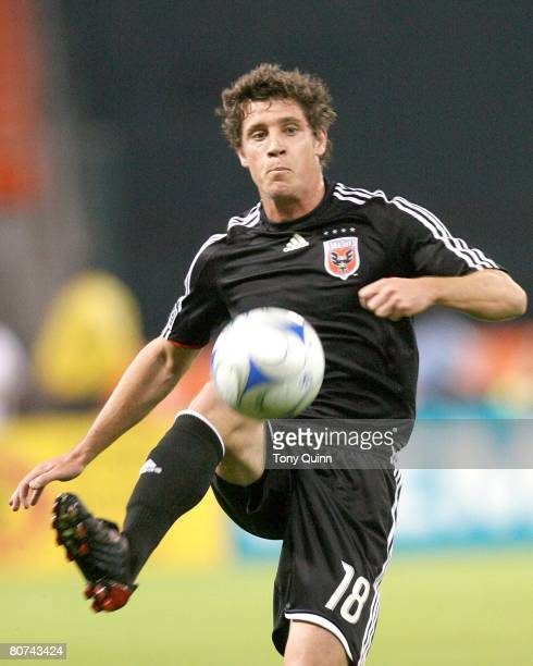 Devon McTavish of DC United kicks a loose ball during an MLS game against the Columbus Crew at RFK stadium in Washington DC