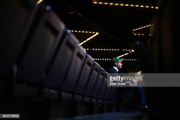 Devon Peek is interviewed during NBA 2K League Draft at Madison Square Garden on April 4 2018 in New York City