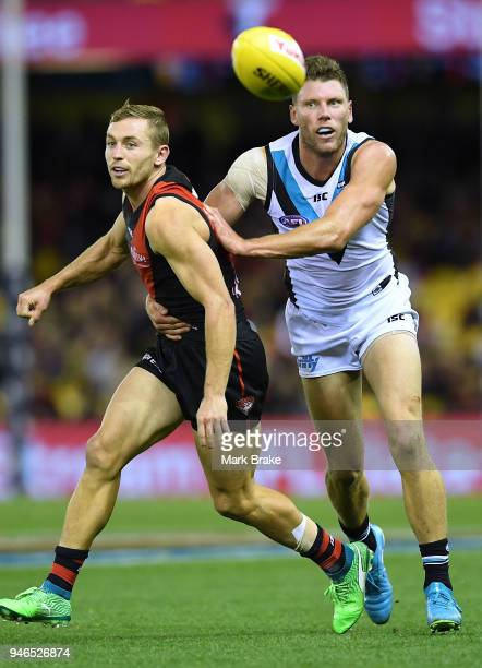 Devon Smith of the Bombers and Brad Ebert of Port Adelaide during the round four AFL match between the Essendon Bombers and the Port Adelaide Power...