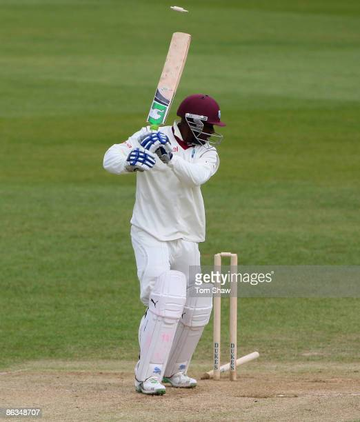 Devon Smith of the West Indies is bowled out during day 3 of the tour match between England Lions and the West Indies at the County Ground on May 2...