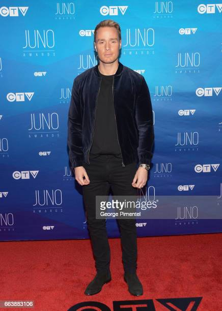 Devon Soltendieck arrives at the 2017 Juno Awards at Canadian Tire Centre on April 2 2017 in Ottawa Canada