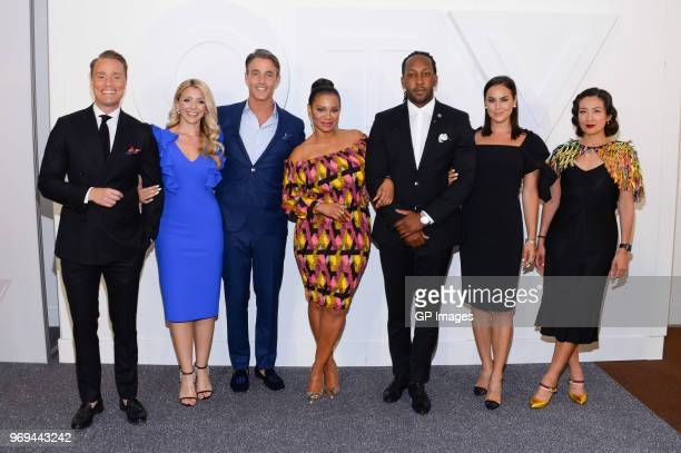 Devon Soltendieck Danielle Graham Ben Mulroney Traci Melchor Tyrone Edwards Chloe Wilde and Elaine Lui attend CTV Upfronts 2018 held at Sony Centre...