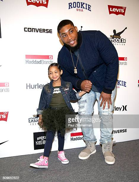 Devon Still poses with daughter Leah Still backstage at the Rookie USA Presents Kids Rock! - Front Row & Backstage - Fall 2016 New York Fashion Week:...