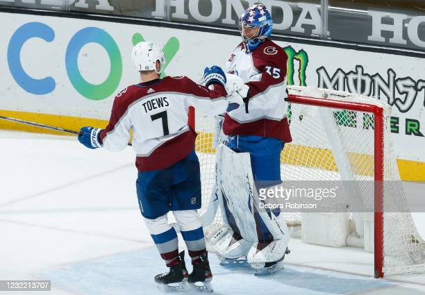 Devon Toews and Jonas Johansson of the Colorado Avalanche celebrate their 2-0 win over the Anaheim Ducks at Honda Center on April 09, 2021 in...