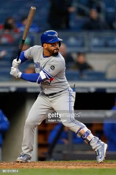 Devon Travis of the Toronto Blue Jays at bat against the New York Yankees during the third inning at Yankee Stadium on April 19 2018 in the Bronx...