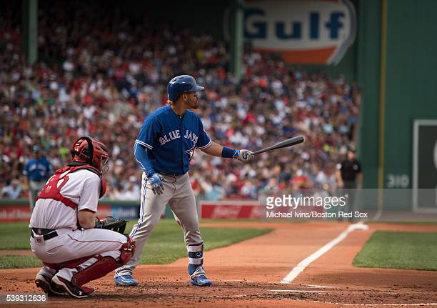 Devon Travis of the Toronto Blue Jays bats against the Boston Red Sox in the second inning on June 4 2016 at Fenway Park in Boston Massachusetts