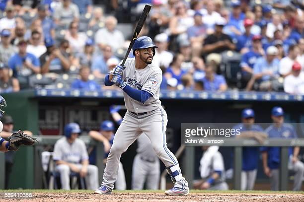 Devon Travis of the Toronto Blue Jays bats against the Kansas City Royals on August 7 2016 at Kauffman Stadium in Kansas City Missouri The Kansas...