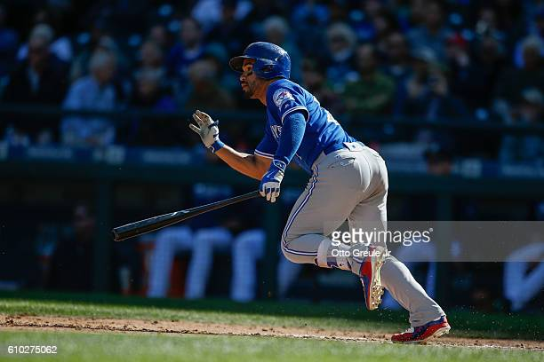 Devon Travis of the Toronto Blue Jays bats against the Seattle Mariners at Safeco Field on September 21 2016 in Seattle Washington