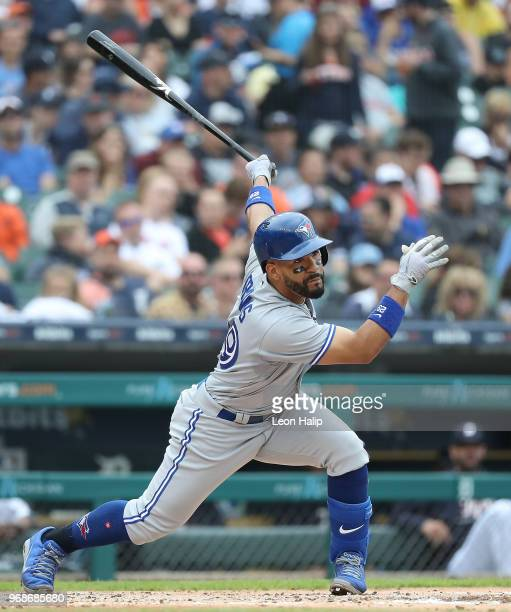 Devon Travis of the Toronto Blue Jays bats during the fifth inning of the game against the Detroit Tigers at Comerica Park on June 3 2018 in Detroit...