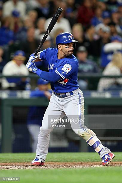 Devon Travis of the Toronto Blue Jays bats during the game against the Seattle Mariners at Safeco Field on September 20 2016 in Seattle Washington...