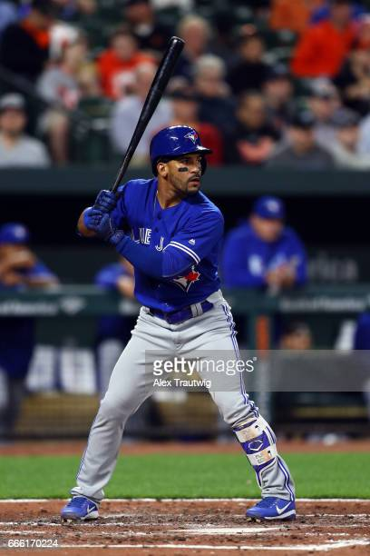 Devon Travis of the Toronto Blue Jays bats during the game against the Baltimore Orioles at Oriole Park at Camden Yards on Wednesday April 5 2017 in...