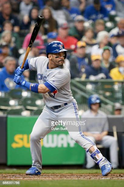 Devon Travis of the Toronto Blue Jays bats in the sixth inning against the Milwaukee Brewers at Miller Park on May 24 2017 in Milwaukee Wisconsin