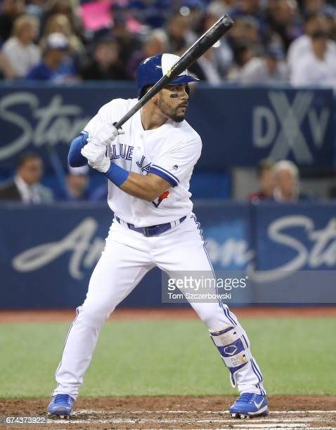 Devon Travis of the Toronto Blue Jays bats in the third inning during MLB game action against the Baltimore Orioles at Rogers Centre on April 13 2017...