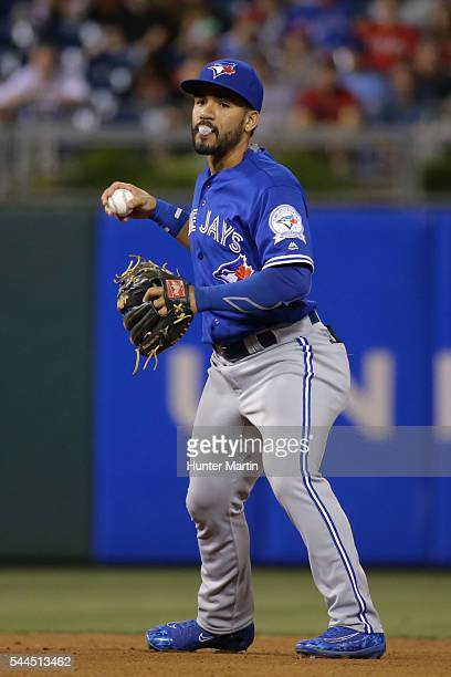 Devon Travis of the Toronto Blue Jays during a game against the Philadelphia Phillies at Citizens Bank Park on June 15 2016 in Philadelphia...