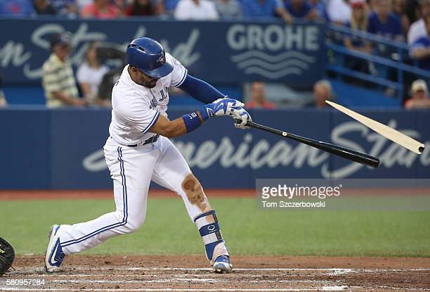 Devon Travis of the Toronto Blue Jays hits an RBI double in the fifth inning during MLB game action against the San Diego Padres on July 25 2016 at...