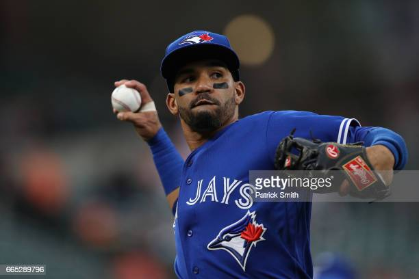 Devon Travis of the Toronto Blue Jays in action against the Baltimore Orioles at Oriole Park at Camden Yards on April 5 2017 in Baltimore Maryland