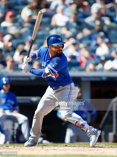 Devon Travis of the Toronto Blue Jays in action against the New York Yankees at Yankee Stadium on April 22 2018 in the Bronx borough of New York City...