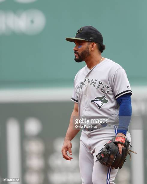 Devon Travis of the Toronto Blue Jays looks on during the game against the Boston Red Sox at Fenway Park on May 28 2018 in Boston Massachusetts MLB...