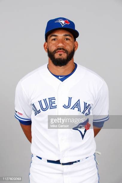 Devon Travis of the Toronto Blue Jays poses during Photo Day on Friday February 22 2019 at Dunedin Stadium in Dunedin Florida