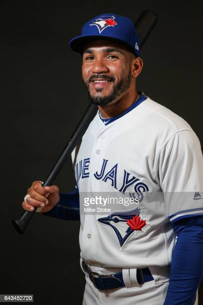 Devon Travis of the Toronto Blue Jays poses for a portait during a MLB photo day at Florida Auto Exchange Stadium on February 21 2017 in Sarasota...