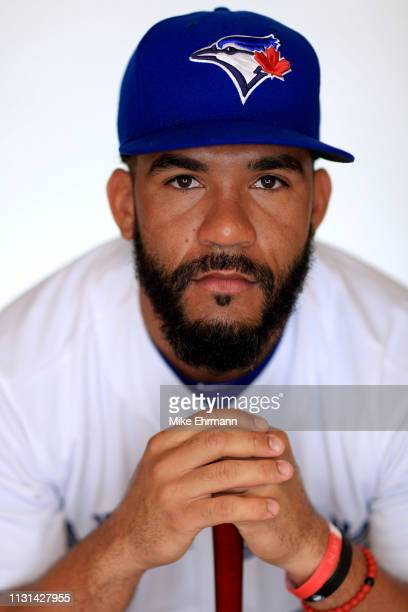 Devon Travis of the Toronto Blue Jays poses for a portrait during photo day at Dunedin Stadium on February 22 2019 in Dunedin Florida