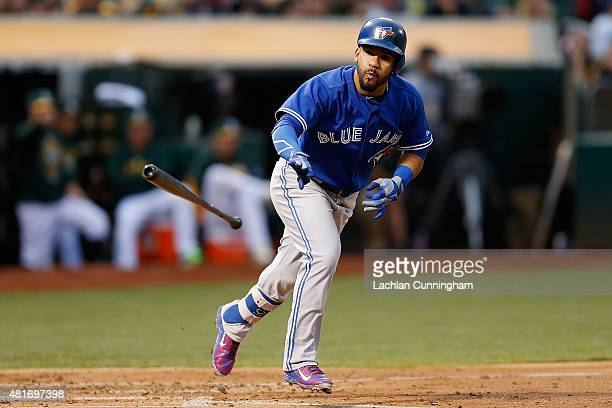 Devon Travis of the Toronto Blue Jays runs to first base on a walk in the third inning against the Oakland Athletics at Oco Coliseum on July 22 2015...
