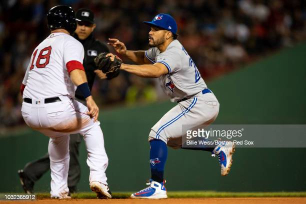 Devon Travis of the Toronto Blue Jays tags out Mitch Moreland of the Boston Red Sox during the fifth inning of a game on September 12 2018 at Fenway...