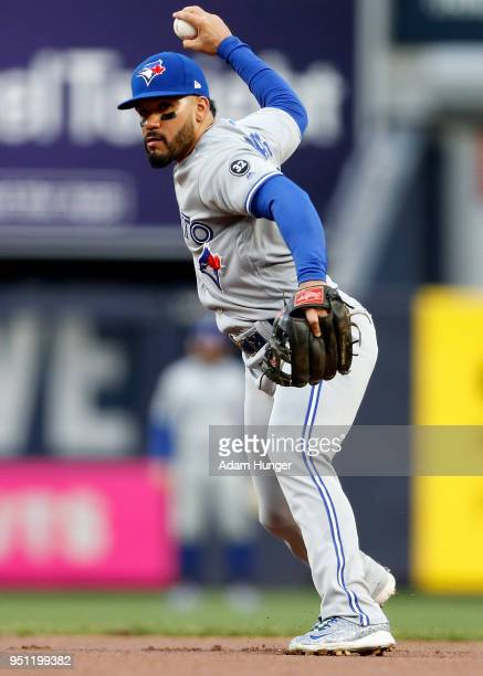 Devon Travis of the Toronto Blue Jays throws the ball against the New York Yankees during the first inning at Yankee Stadium on April 19 2018 in the...