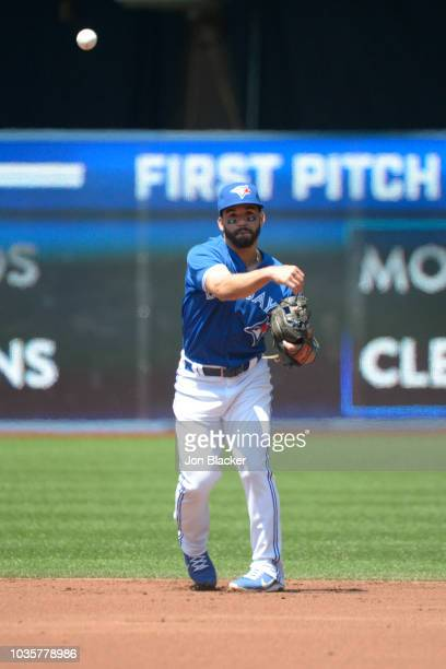 Devon Travis of the Toronto Blue Jays throws to first base during a game between the Los Angeles Angels and the Toronto Blue Jays at the Rogers...