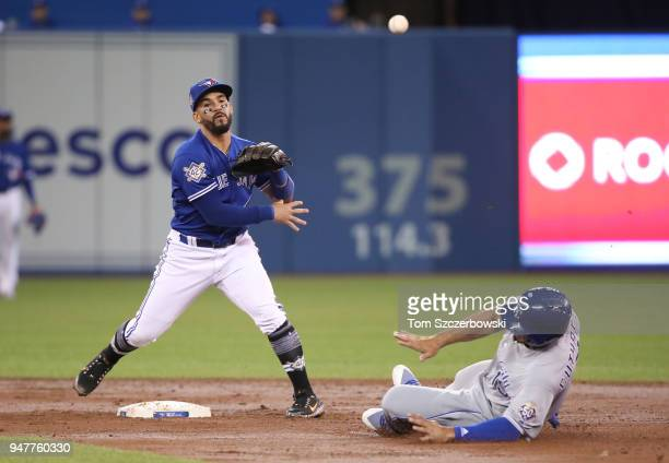 Devon Travis of the Toronto Blue Jays turns a double play in the second inning during MLB game action as Cheslor Cuthbert of the Kansas City Royals...